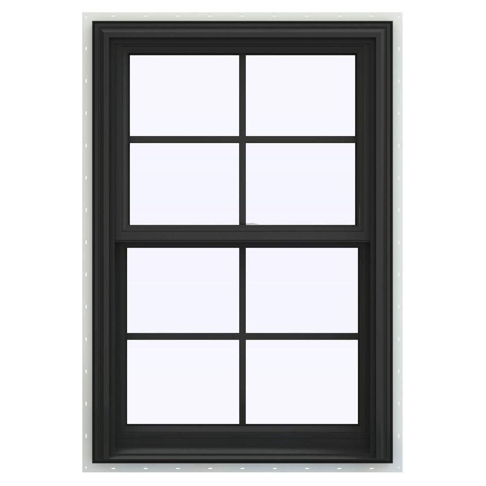 Jeld Wen 28 In X 48 In V 2500 Series Bronze Finishield Vinyl Double Hung Window With Colonial Grids Grilles Thdjw144401079 Double Hung Windows Single Hung Windows Windows