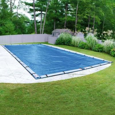 Pool Mate Econo Mesh 16 Ft X 36 Ft Rectangular Blue Mesh In Ground Winter Pool Cover 541636r The Home Depot Winter Pool Covers Pool Cover In Ground Pools