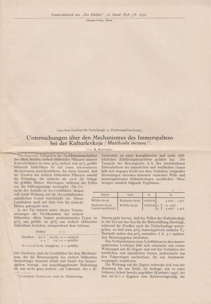 Untersuchungen uber den Mechanismus des Immerspaltens bei der Kulturlevkoje (Matthiola incana)