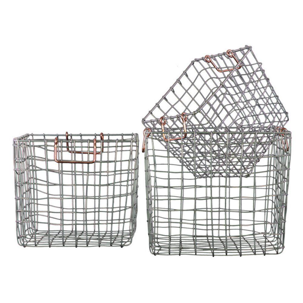 Wire Storage Baskets- Set Of 3
