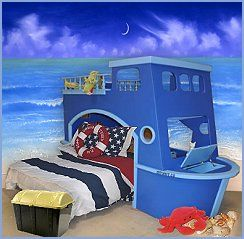 Little Boys Dream room, ship bed back wall painted like ...