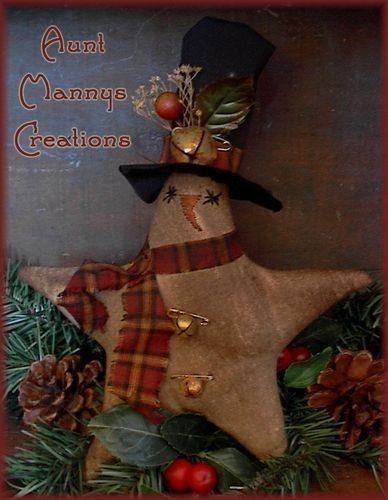 Primitive Snowman Patterns Primitive Snowman Star Ornie Pattern