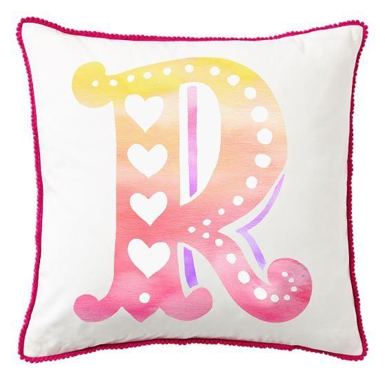 Mini Pom Monogram Pillow Cover Pbteen Monogram Pillows