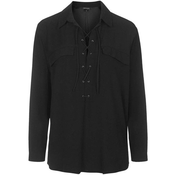 68838890b7e046 TOPSHOP PETITE Tie Up Pocket Blouse ($63) ❤ liked on Polyvore featuring tops,  blouses, black, petite, relax shirt, black tie blouse, tailored shirts, ...