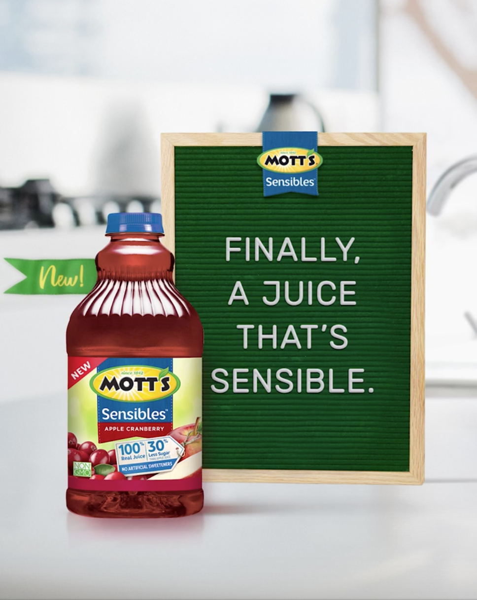 Introducing new Mott's Sensibles 100 juice with 30 less