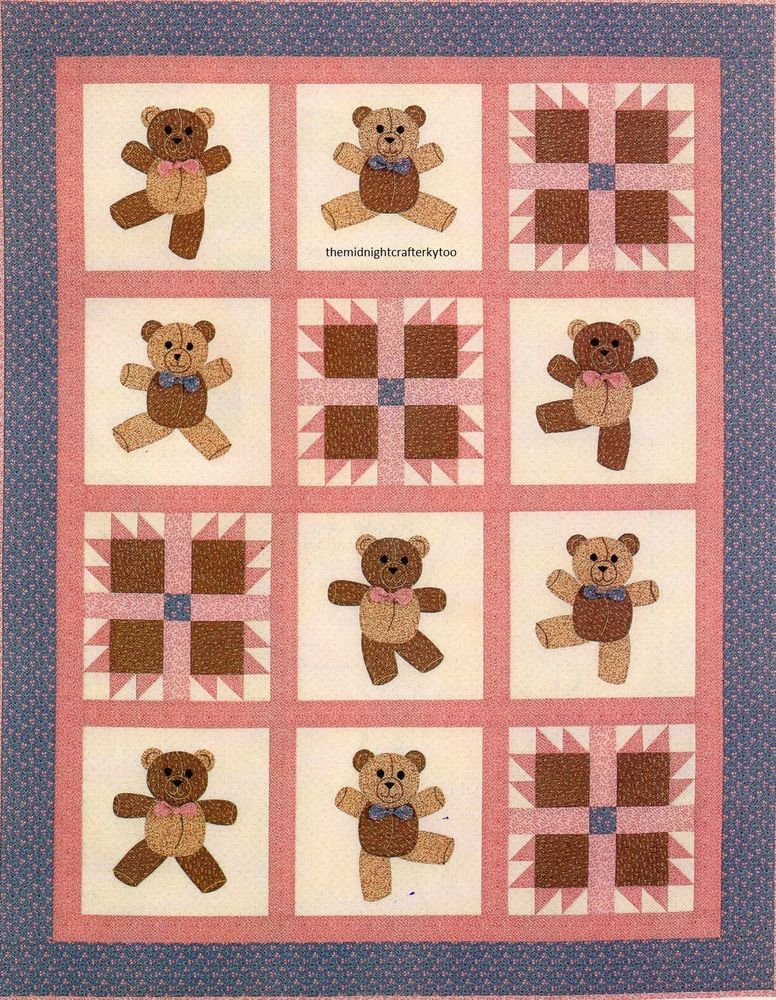 Dancing Bears Quilt Pattern Pieced/Applique AC | Baby Quilts