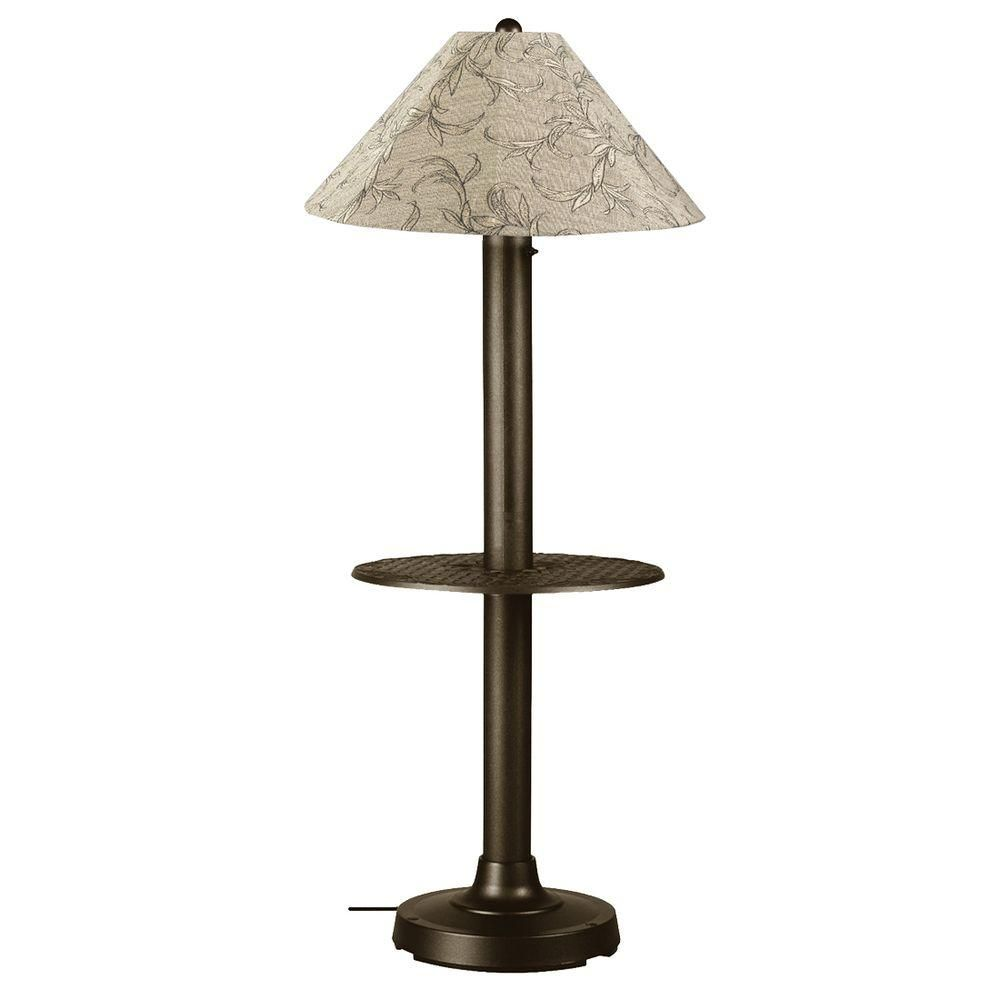 Patio Living Concepts Catalina 63.5 in. Bronze Outdoor Floor Lamp with Tray Table and Bessemer Linen Shade