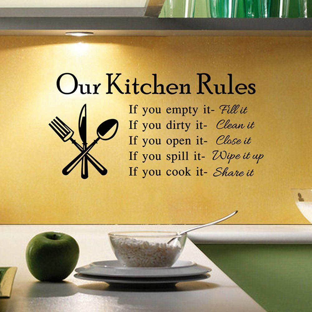 Bestwoohome Wall Letter Sticker Our Kitchen Rules Words Home Decor ...