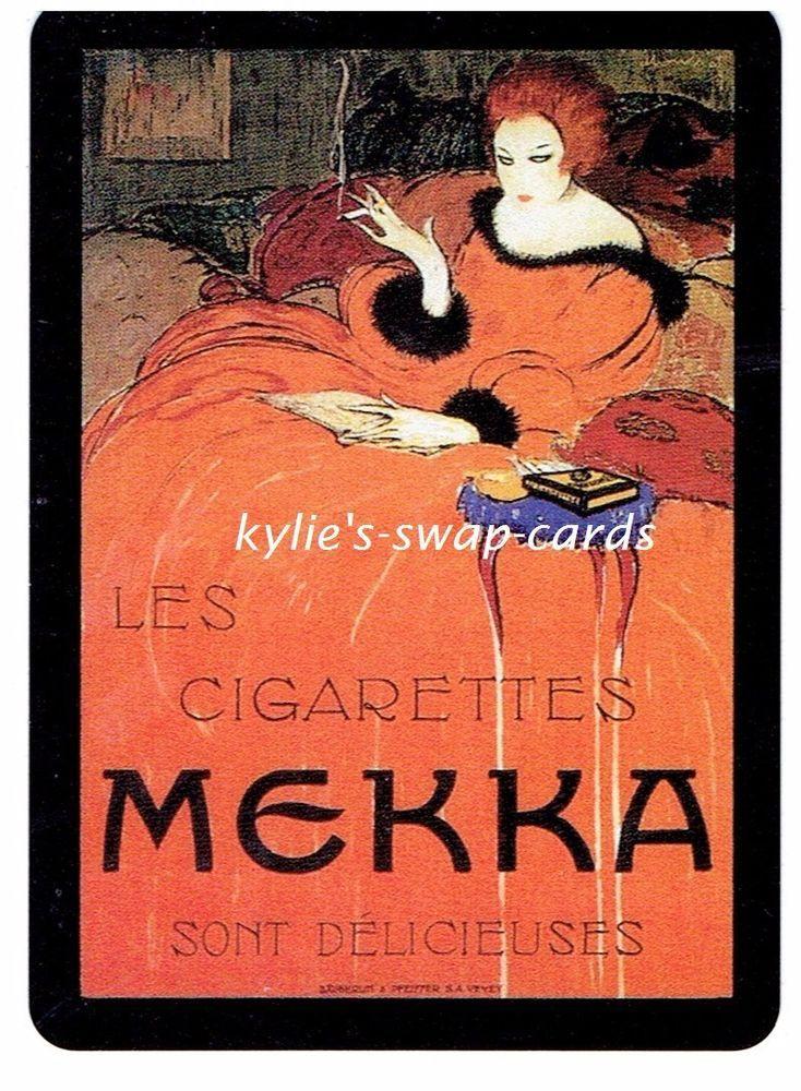 B32 SINGLE swap playing cards CIGARETTES SMOKING advert MEKKA PRETTY DECO LADY