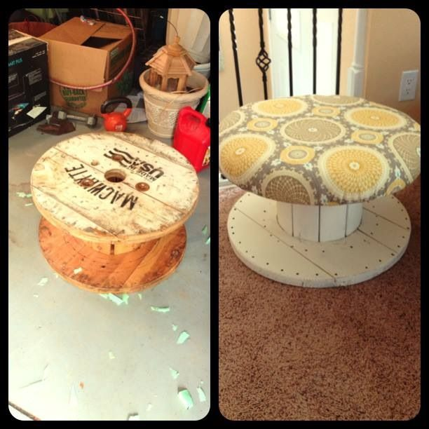 wood spool upcycled into a chair or ottoman for the home. Black Bedroom Furniture Sets. Home Design Ideas