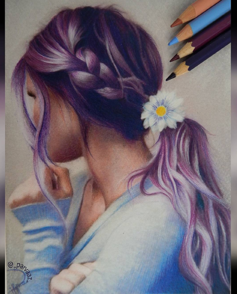colored pencils drawing works by parvaaz sketches drawings