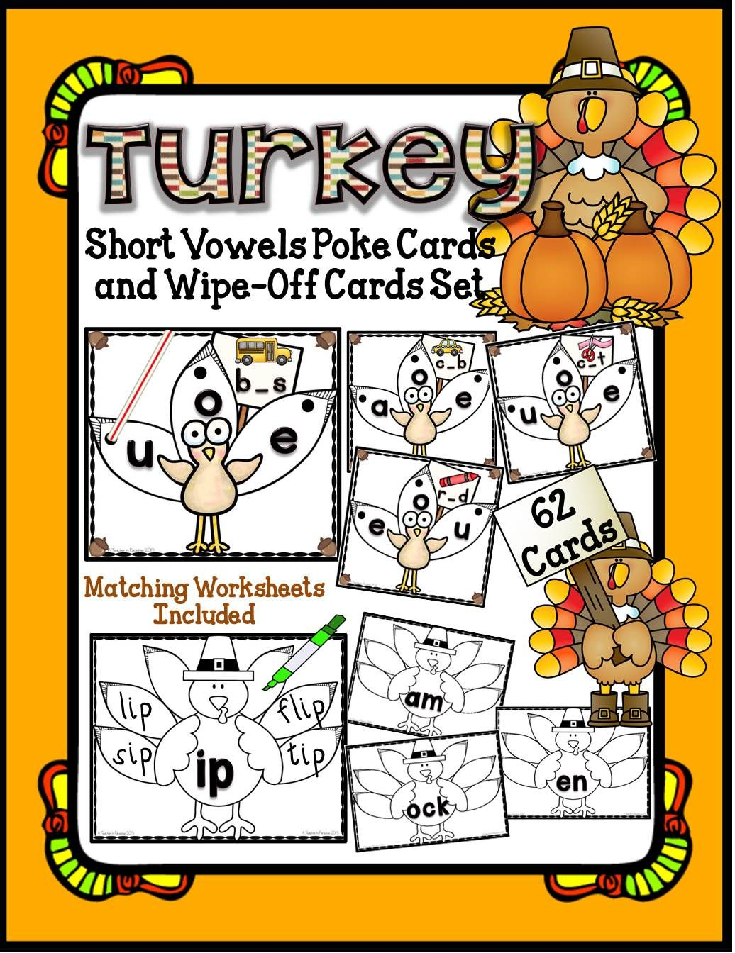 Turkey Short Vowel Poke Cards And Wipe Off Activity Cards