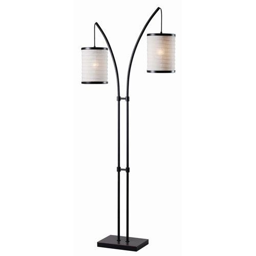 Lanterna Oil Rubbed Bronze with Gold Highlights Two-Light Floor Lamp ...