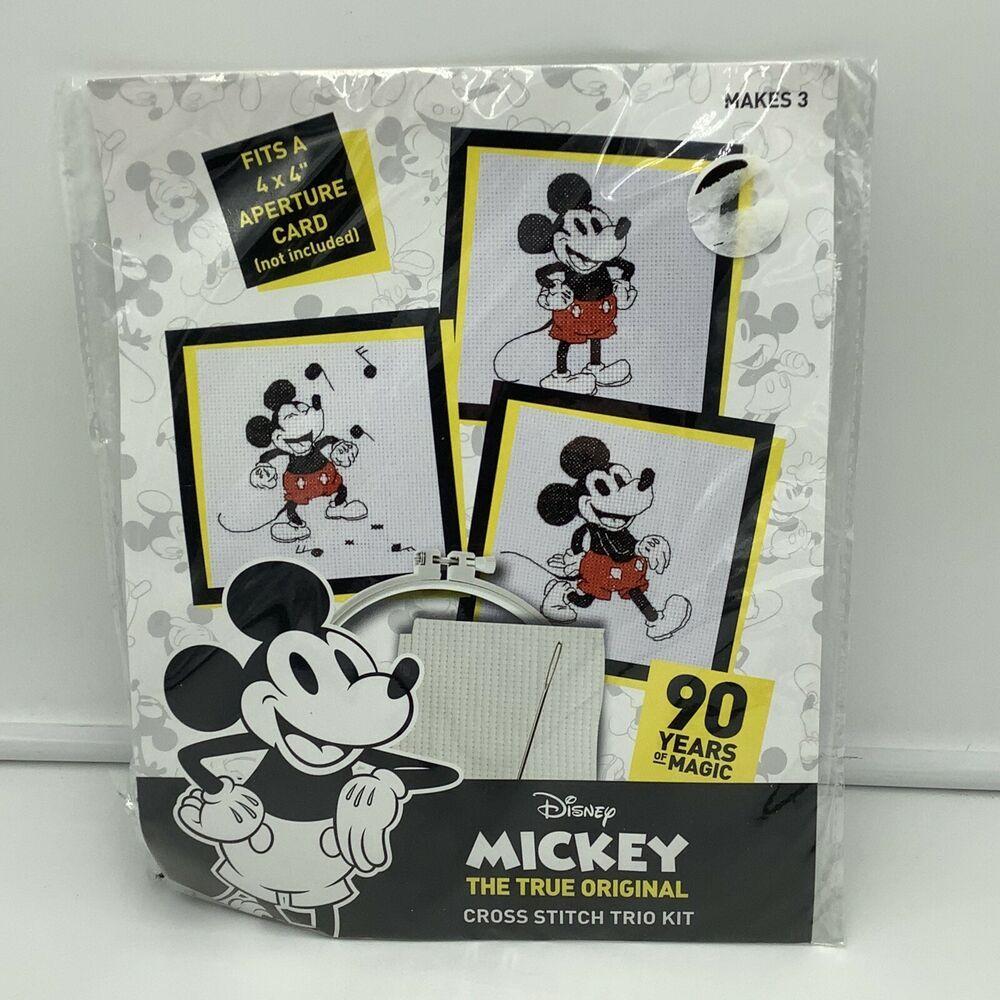 Disney Mickey Mouse 90th Anniversary Music Notes Cross Stitch Trio Kit New Ebay Cross Stitch Cross Stitch Cards Mickey