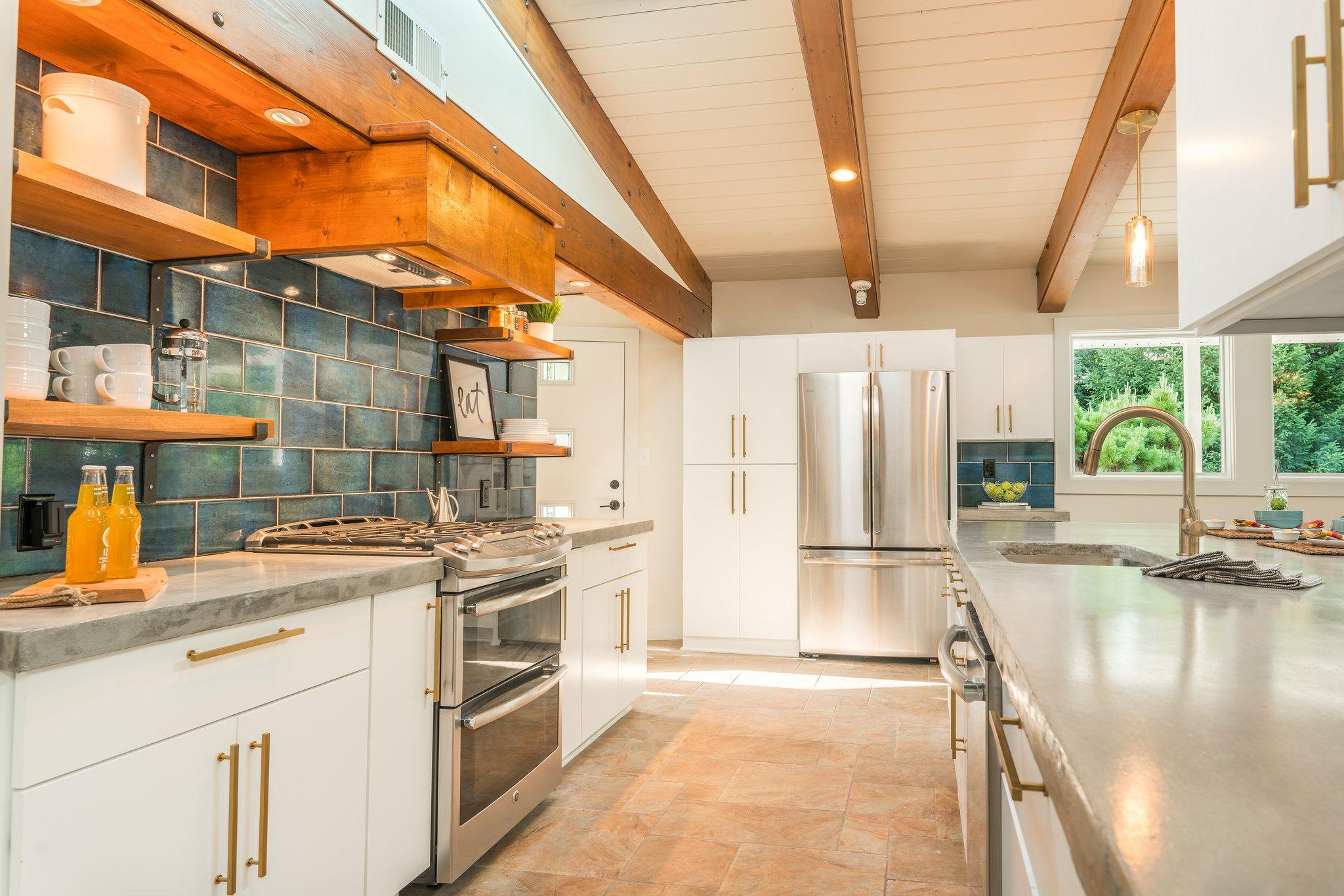 updated midcentury modern kitchen white flat panel custom cabinetry custom concrete on kitchen ideas white id=88041