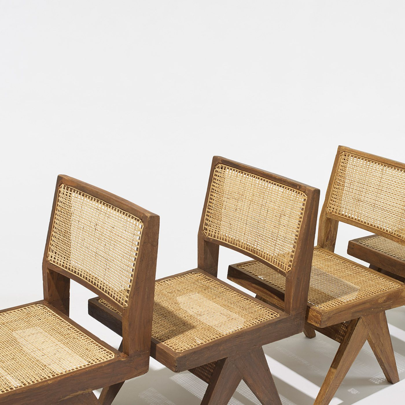 Upcoming Furniture Sales: Pierre Jeanneret, Set Of Six Dining Chairs From Chandigarh