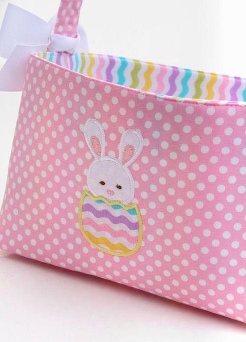 Fabric Easter Basket Bunny Applique Pink polka dot. $25.00, via Etsy.