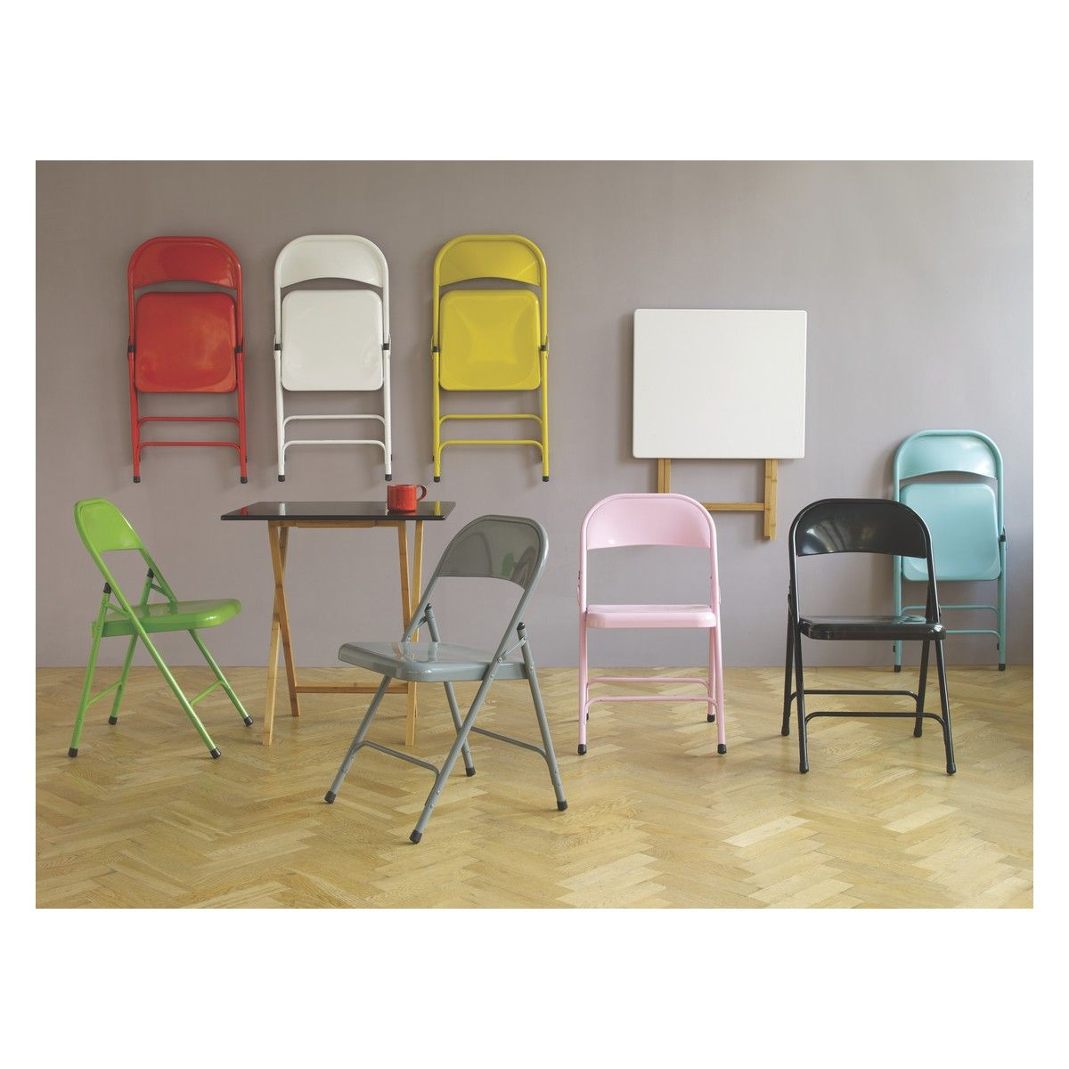 MACADAM Grey Metal Folding Chair Dining Room