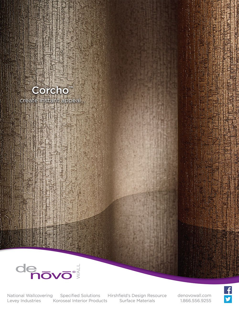 DeNovo Walls CorchoTM Commercial Wallcovering Advertisement In The Interior Design Magazine February 2015 Issue
