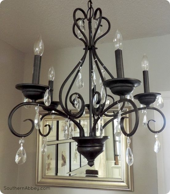 Craigslist Crystal Chandelier Makeover A Pottery Barn Knock Off