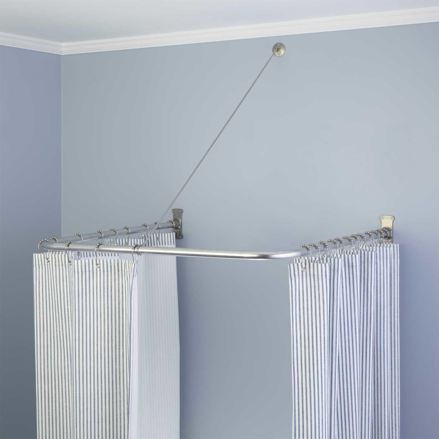 U Shaped Solid Brass Shower Curtain Rod With Support In 30 L X 30