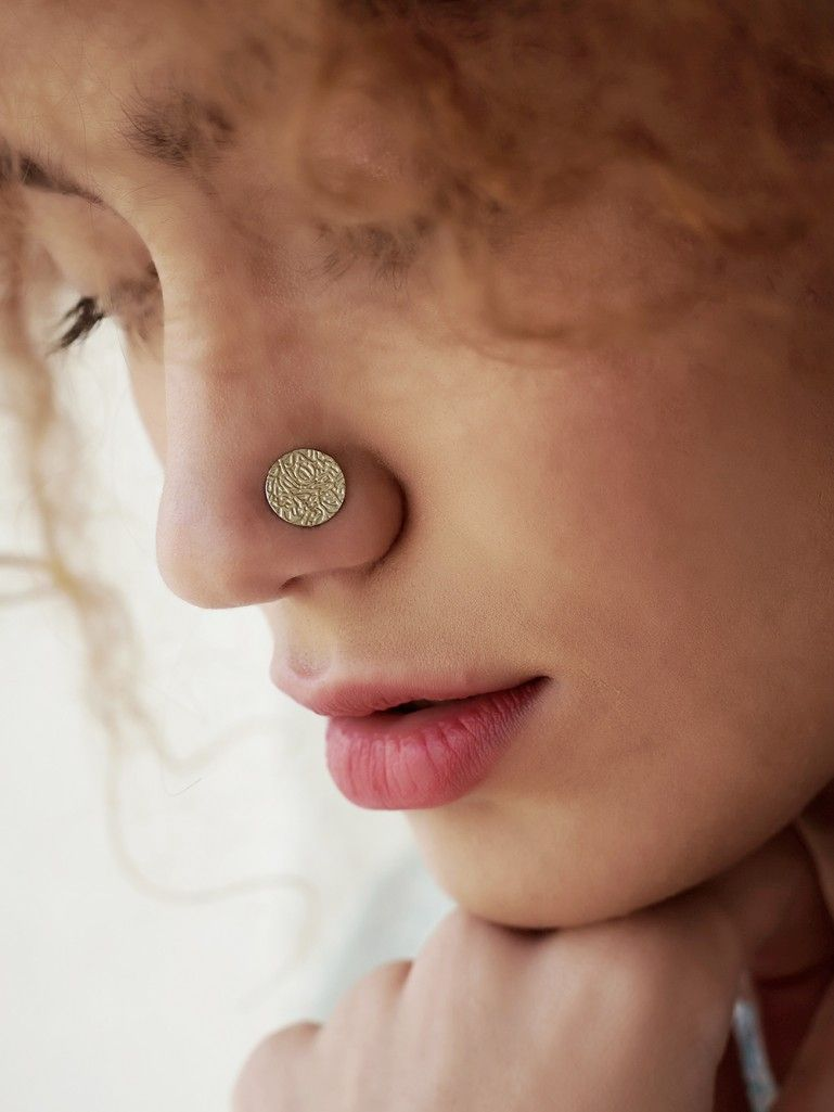Sliver Textured Round Nose Ring Nose Ring Nose Ring Jewelry