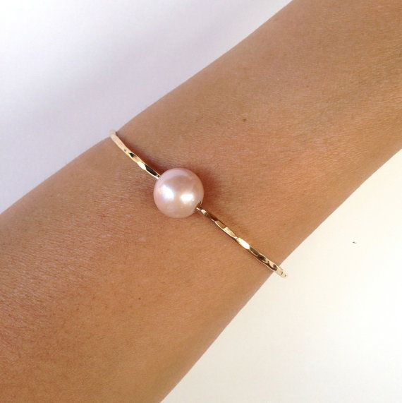 Pink Fresh Water Pearl Bangle 14kt Gold Filled
