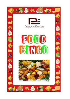 Food BingoExcellent game for FUN or learning or added class activities.Includes: - 8 Different Bingo Cards- 16 Food Flashcards- 72 Bingo Tiles- How to play(FIRST print, cut out and laminate the playing and picture cards)How to play:1. Each player gets one card2.