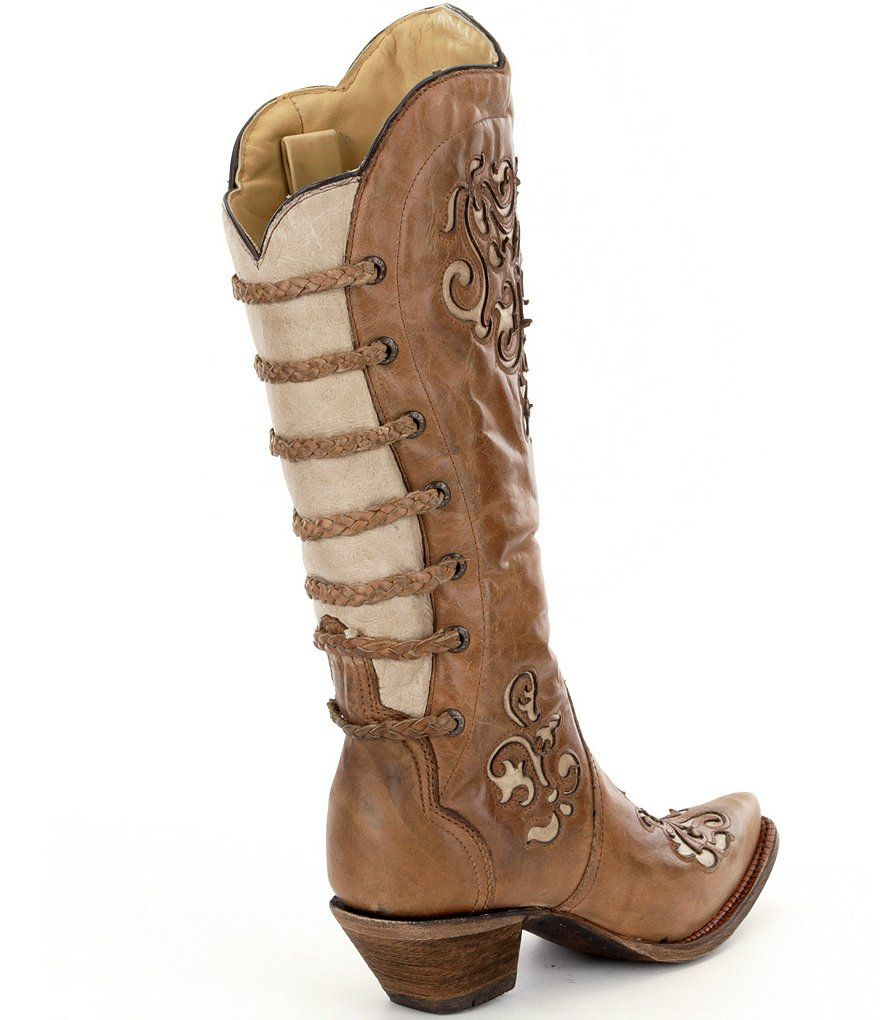 Corral Boots Inlay and Straps Block Heel Boots 9pkVBb78