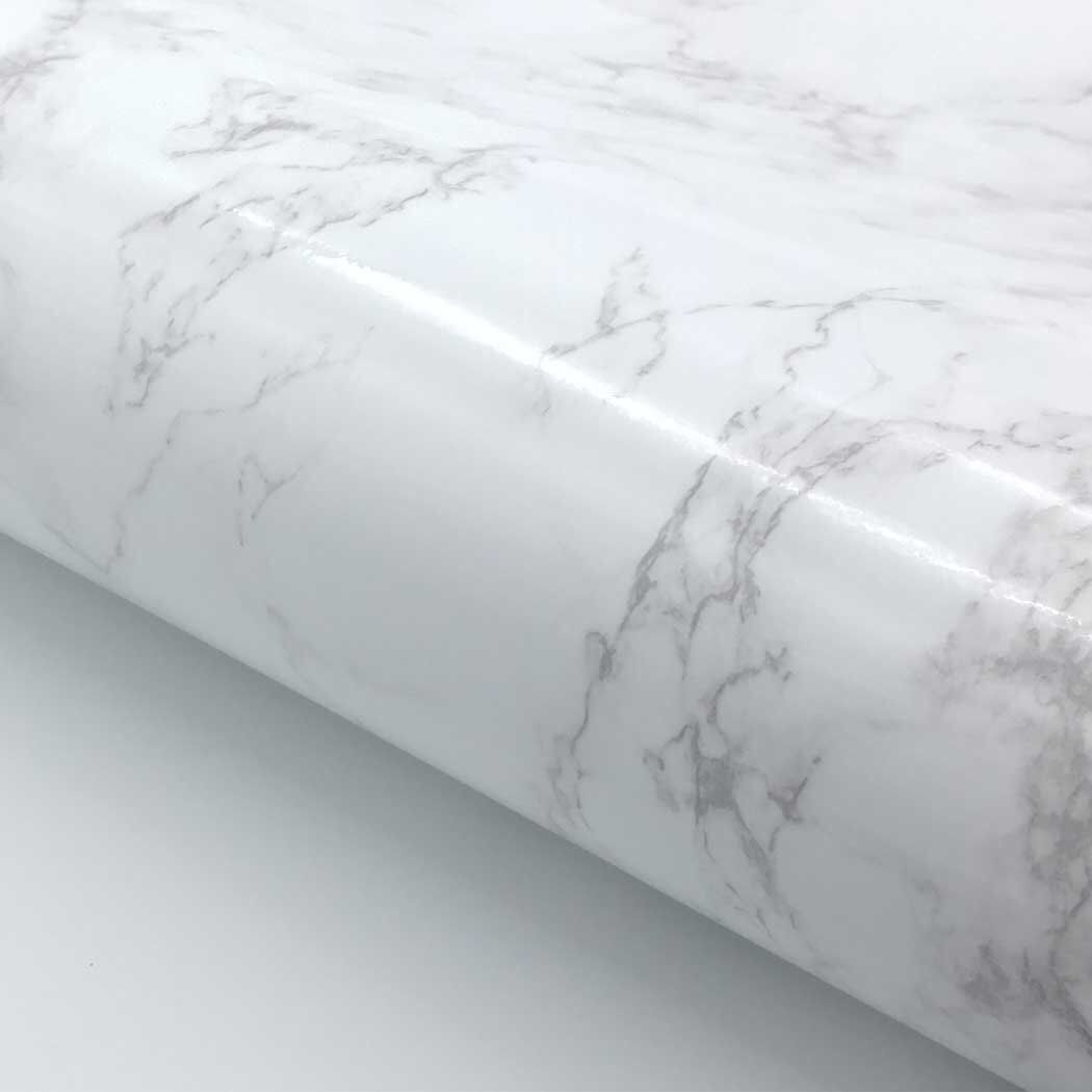 Interieur En Marbre Film Auto Adhesif Marbre Blanc Brillant 24 X 78 7 Faux Marbre Papier Pour Les Meubles Armoires De Cuisine Plan De Travail Interieur En Marbre Plan De