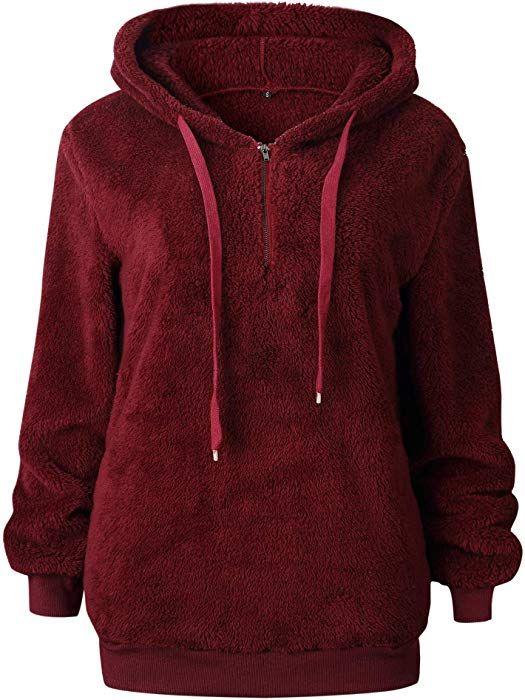 innovative design f5c9c 55949 MYSHOW Damen Teddyfleece Hoodie Locker Oversize Fleece ...