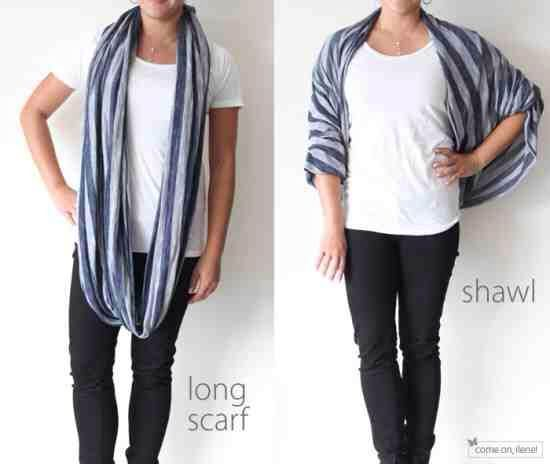 Circle scarf into a shaw..