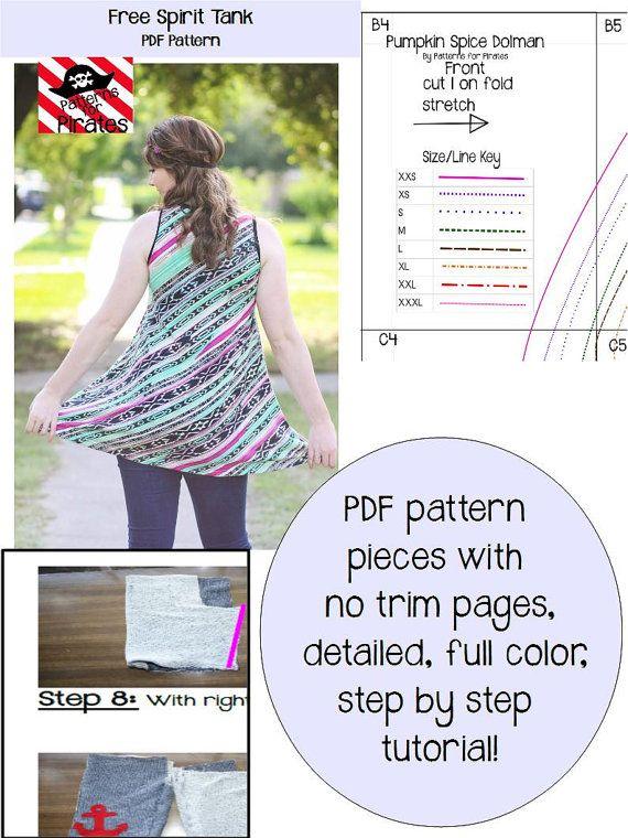 Free Spirit Tank Sewing PDF Pattern by Patterns for Pirates Sizes ...