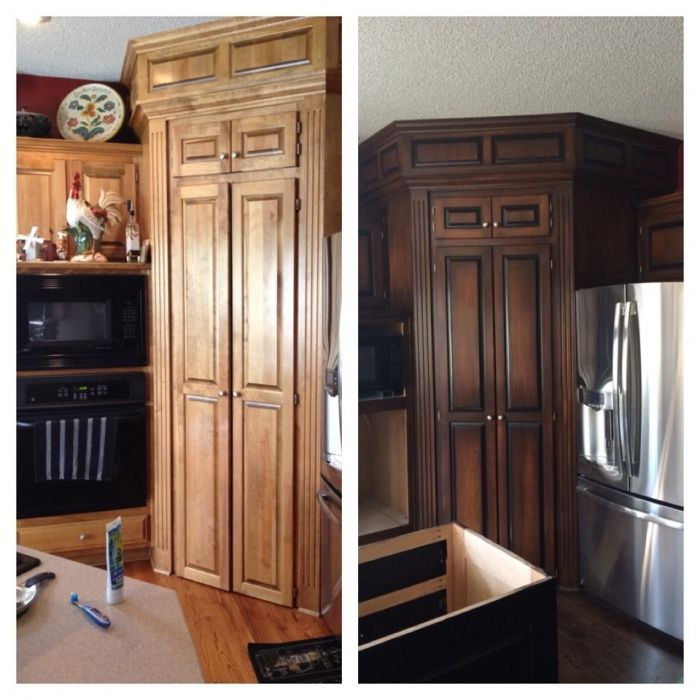 diy gel stain kitchen cabinets bathroom cabinets two tone java and antique walnut 8749