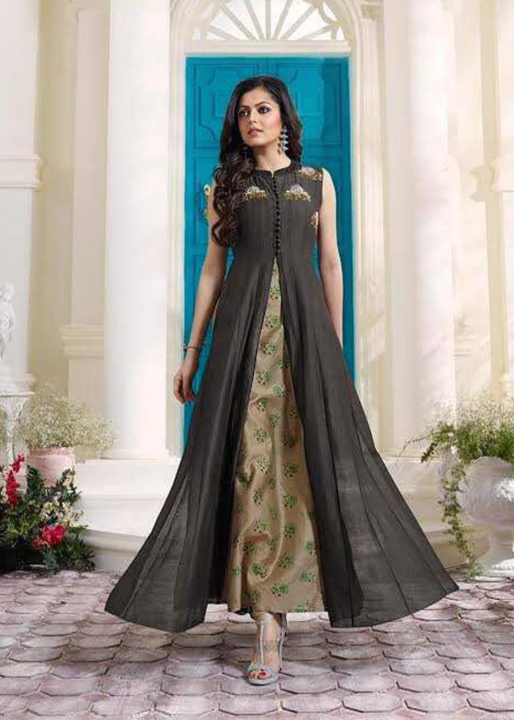 007f663f1c Prescious black and Beige Designer Drshti Dhami Anarkali Salwar kameez.  Abaya Fashion, India Fashion, Ethnic Fashion, Style Fashion, Ethnic Trends,  Recycled