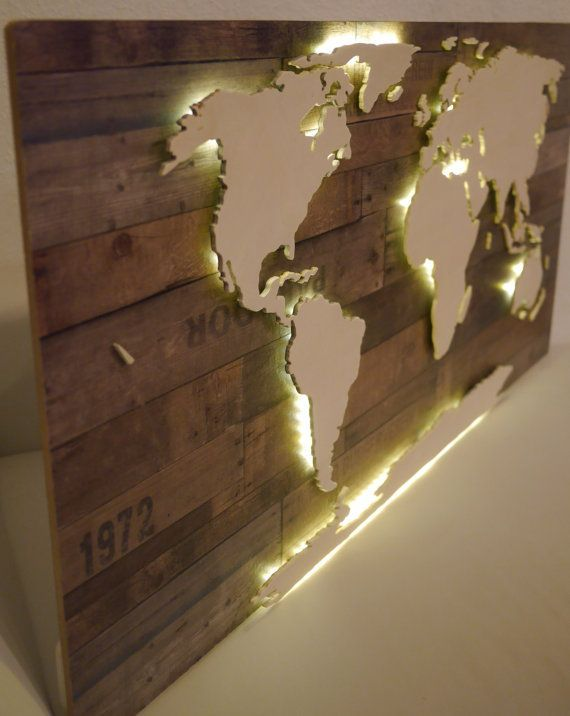 World map in wood - effect - lighted 128x78cm  - broken design holzmobel