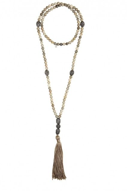 bohemian chic necklace sparkles with black pave beads