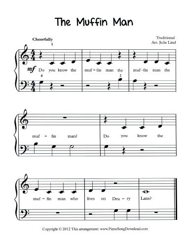The Muffin Man Free Sheet Music For Beginning Piano Lessons