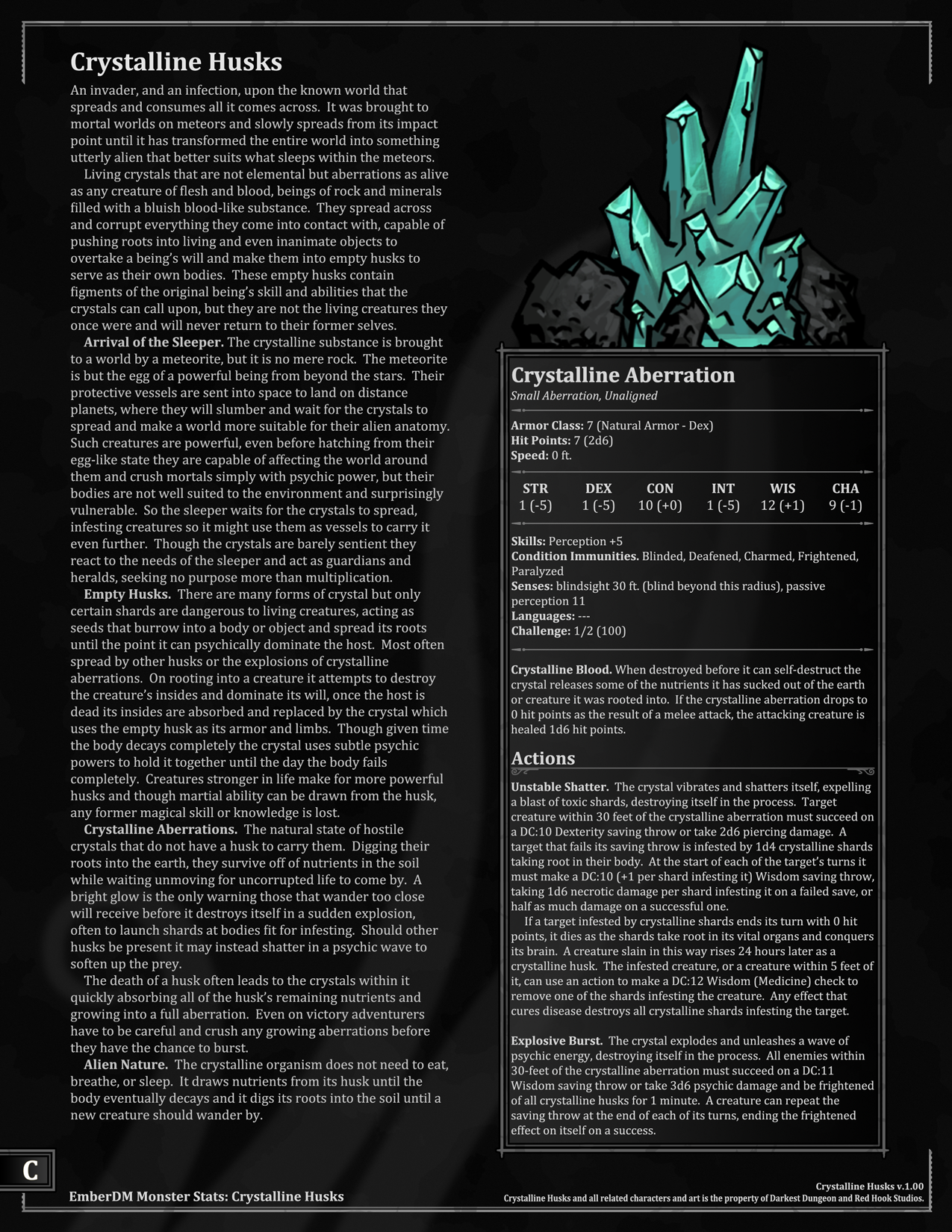 Darkest Dungeon Crystalline Husks And The Thing From The Stars V1 00 D D 5e Monster Stats Here S The Third And Last Of Darkest Dungeon Dungeon Dnd Monsters