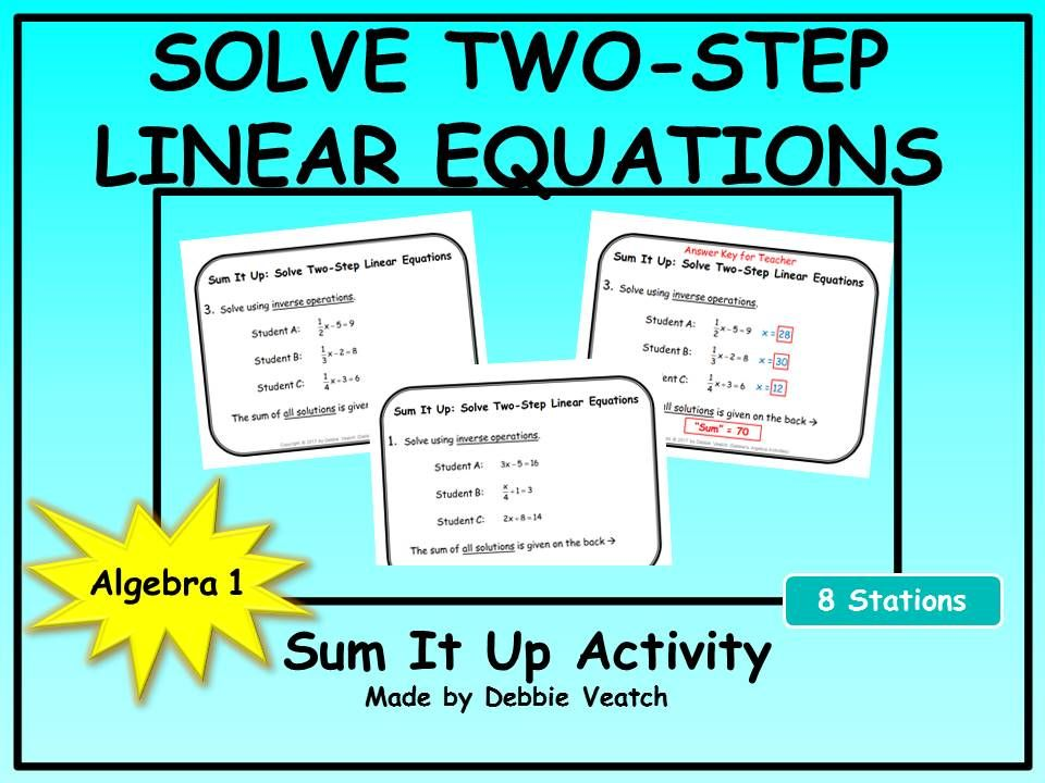 Solve Two-Step Linear Equations Sum It Up Activity | Equation ...