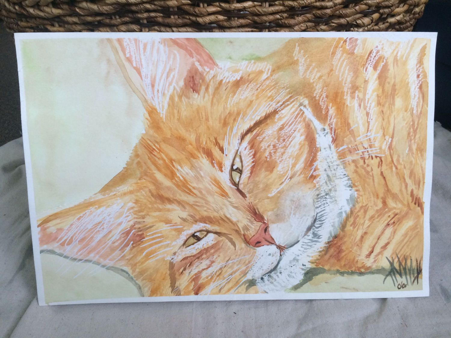 Ginger Cat Mixed Media by TandFArtistry on Etsy