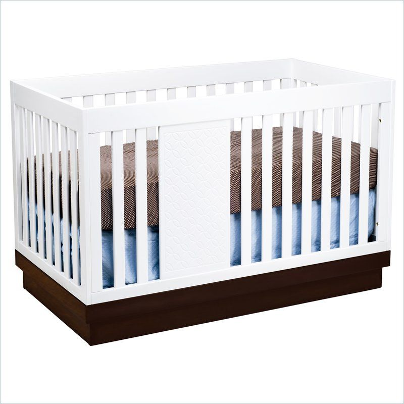Babyletto Harlow 3 In 1 Convertible Baby Crib In Two Tone White And
