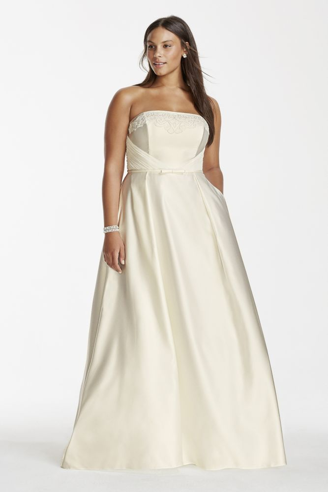 Satin A Line Plus Size Wedding Dress With Pockets Ivory 16w