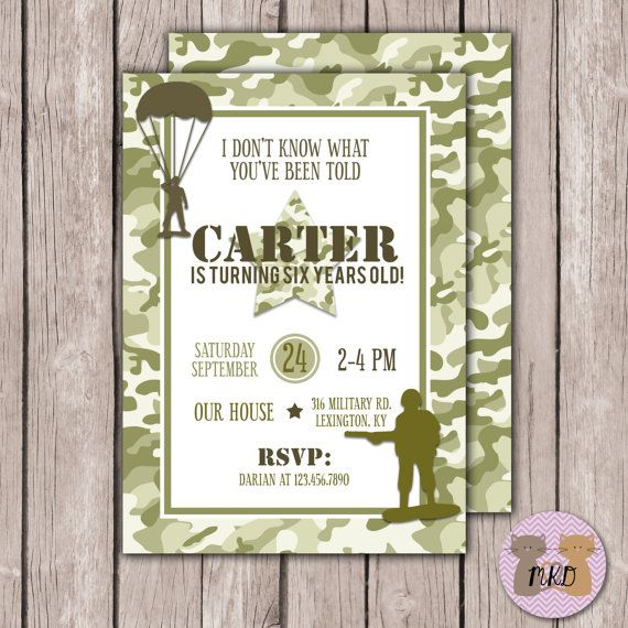 Diy Printable Boy Camouflage Invitation Army Birthday Invitation