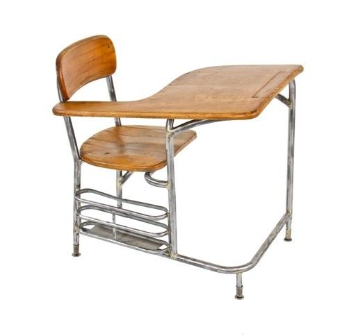 Urban Remains Chicago Distinctive C American Machine Age Streamlined Style Brushed Tubular Steel Stationary School Clroom Desk Chair With Maple Seat