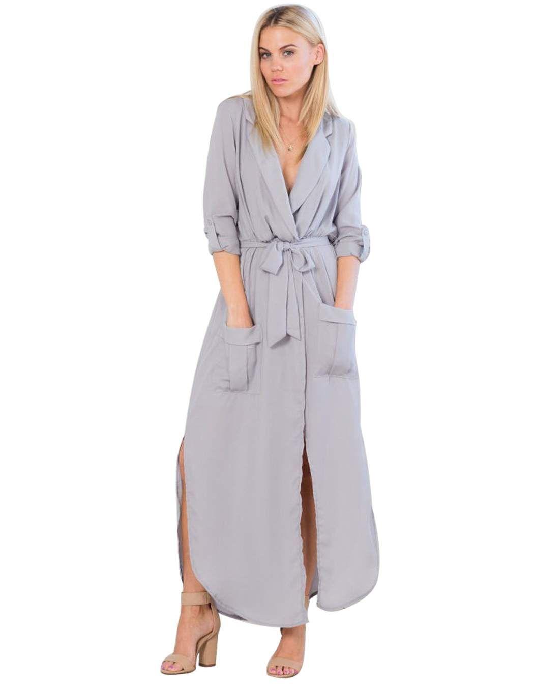 02558422ec2 Zeagoo Women s Sexy Long Sleeve Side Split V Neck Long Chiffon Shirt Dress  With Belt