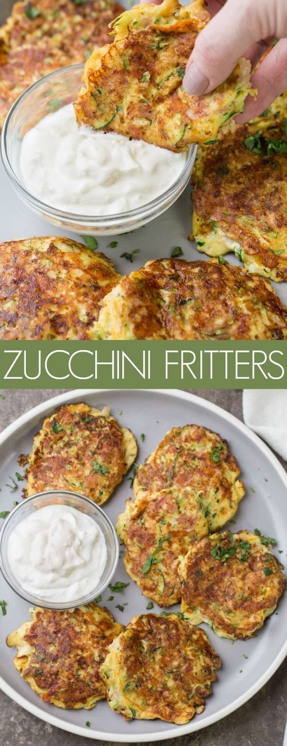 The fritters are loaded with grated zucchini in an egg mixture with parmesan, ham and shredded cheese. These savory fritters are perfect for breakfast or brunch. #fritters #zucchini #recipe #ham #zucchinirecipes