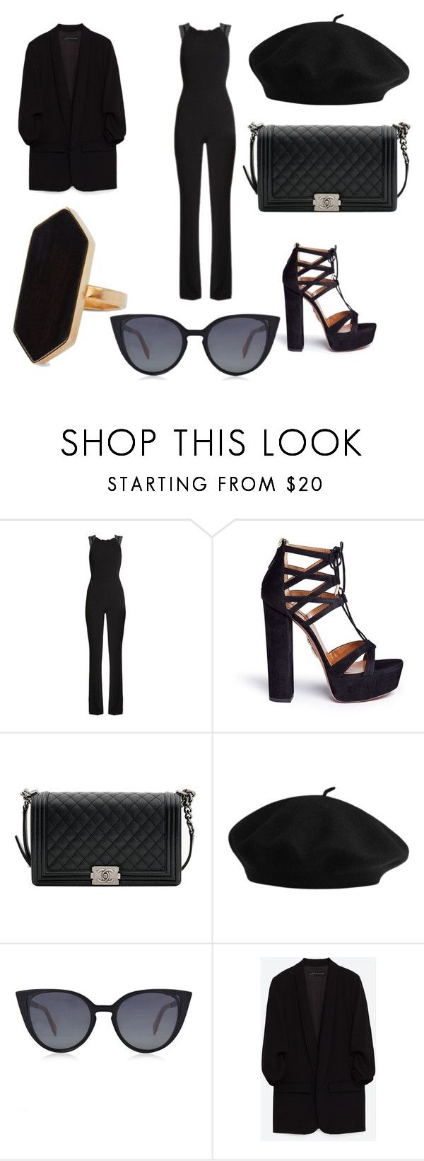 """CEO"" by malika-sparda ❤ liked on Polyvore featuring Roland Mouret, Aquazzura, Chanel, Fendi, Jaeger and sleevelessjumpsuits"