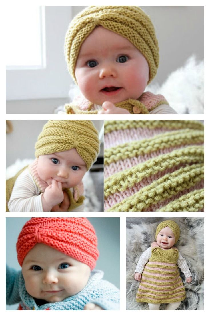 Knit Baby Turban Hat with Free Pattern | Knitting | Pinterest | Baby ...
