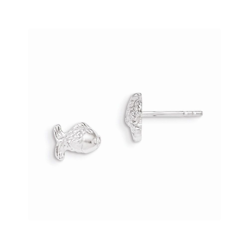 Sterling Silver RH Plated Child's Polished Fish Post Earrings